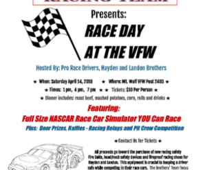 Join Us For RACE DAY at the VFW April 14th !!